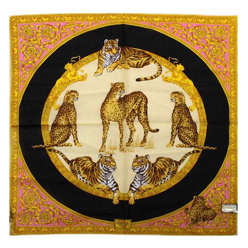 VERSACE 凡賽斯 古典藝術華麗猛獸領帕巾(橘色)989017-23