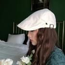 2021新品促銷 純白色復古畫家貝雷帽男女純白代感可調節前進鴨舌帽子