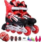 直排輪 直排溜冰鞋可調男童女童閃光輪滑鞋全套旱冰鞋初學者滑冰鞋【快速出貨八折搶購】