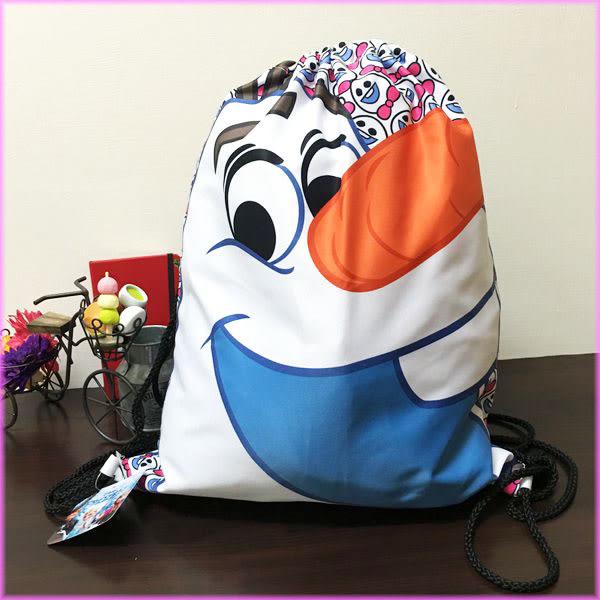 迪士尼冰雪奇緣雪寶大臉造型後背包束口袋隨身包收納包女衣