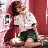 春夏季短袖純棉兩件可外穿日系草莓家居服