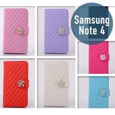 SAMSUNG 三星 Note 4 小羊皮山茶花皮套 插卡 側翻 手機套 手機殼 保護套 配件