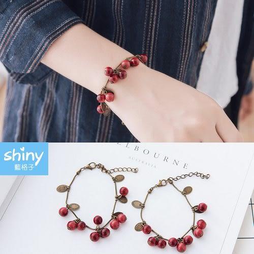 【30A89】shiny藍格子-唯美復古.時尚可愛小櫻桃古銅手鍊