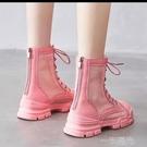 女童白色靴子英倫風馬丁靴2021夏季薄款透氣網紗百搭鏤空短靴子 一米陽光