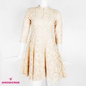 【SHOWCASE】中式俏麗立領盤釦刺繡收腰七分袖旗袍短洋裝(杏)
