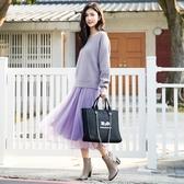 秋冬7折[H2O]內搭吊帶大波浪紗裙洋裝 - 灰/淺紫/咖色 #0634015