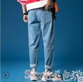 直筒褲冬季長褲子男士韓版潮牌破洞闊腿男生牛仔褲男寬鬆直筒老爹褲 交換禮物