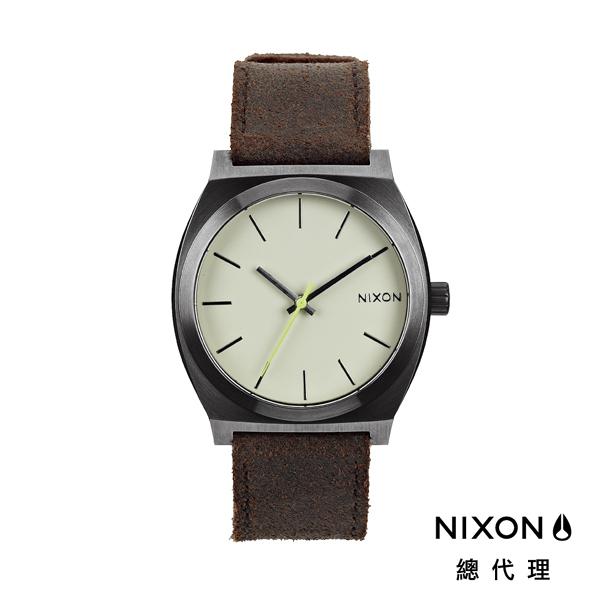 【官方旗艦店】NIXON TIME TELLER 極簡工裝小錶款 皮革錶帶 深棕 潮人裝備 潮人態度 禮物首選