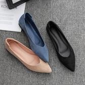 尖頭鞋單鞋女平底2020秋季新款尖頭平跟軟底淺口百搭四季鞋黑色低跟女鞋 衣間迷你屋