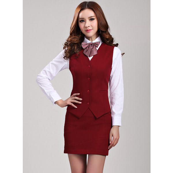 OL套裝 辦公室女西裝背心 + 窄裙 馬甲背心&短裙 商務服務員職業團體制服