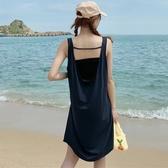 露背洋裝 無袖吊帶性感露背連身裙女夏新款設計感超仙純色修身顯瘦裙子 交換禮物