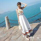 小心機超仙刺繡吊帶裙顯瘦雪紡連衣裙海邊度假沙灘裙長裙女夏學生