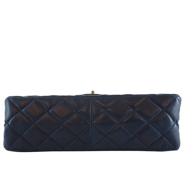 【CHANEL】藍紫色 小羊皮 雙蓋 2.55 JUMBO 32cm CH11000282
