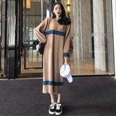 秋冬女裝韓版中長款寬鬆長袖針織裙溫柔風連身裙毛衣長裙學生裙子
