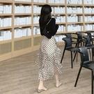 韓版2021新款夏季不規則網紗高腰半身裙潮流時尚碎花包臀a字長裙【快速出貨】