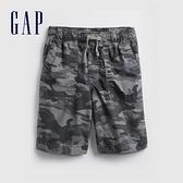 Gap男童 工裝風繫帶透氣短褲 875633-灰色迷彩