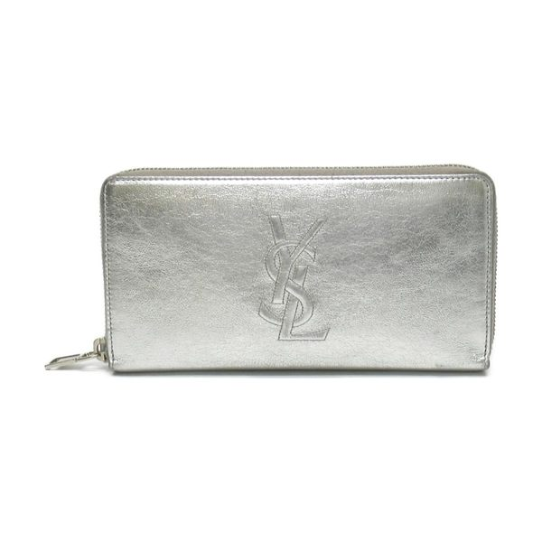 YVES SAINT LAURENT YSL 聖羅蘭 銀色牛皮ㄇ字型拉鍊長夾 Zippy Wallet 【BRAND OFF】