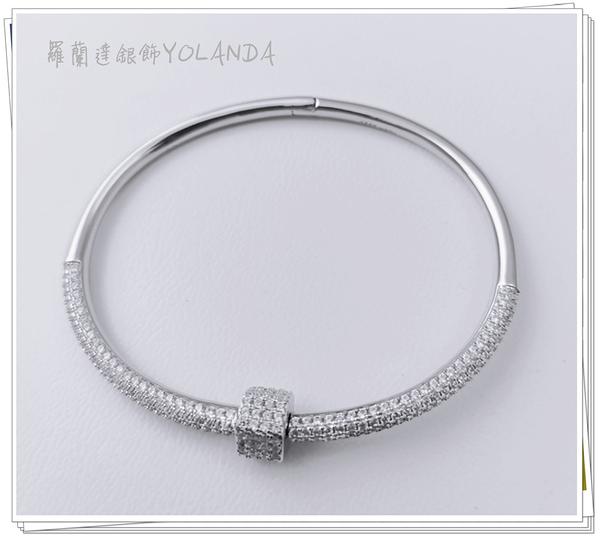 手環925純銀。 Bring~bring鋯石。螺旋鎖扣。【羅蘭達銀飾】。 時尚。奢華。優雅
