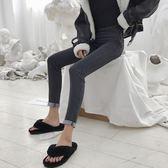 早春新款女裝復古黑灰高腰修身顯瘦學生百搭鉛筆小腳九分牛仔褲女  百搭潮品