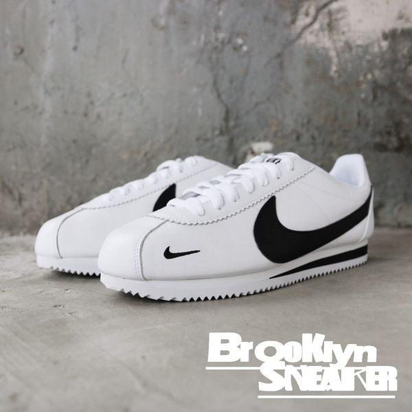Nike Classic Cortez 白 黑logo 皮革 阿甘 復古 休閒 男 (布魯克林) 807480-104