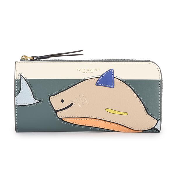 TORY BURCH鯊魚拼接皮革拉鍊長夾(多彩)151238