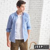 【JEEP】雙色格紋拼接長袖襯衫 (藍格紋)