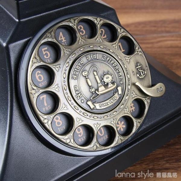 老式歐式仿古電話機美式復古座機家用辦公電話黑色金屬旋轉 新品全館85折 YTL