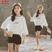 中大女童寬鬆短袖T恤2021新款韓版蝙蝠上衣親子裝洋氣小女孩夏季 幸福第一站