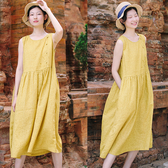 洋裝-復古盤扣無袖寬鬆背心裙/設計家 Q9673