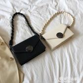 小方包 程牙伢 2020韓版新款簡約風小眾圓鎖小方包 百搭側背斜背小包包女 愛麗絲