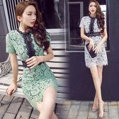 清倉$388 韓國風名媛顯瘦百搭蕾絲拼接鉤花短袖洋裝