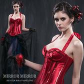 馬甲 可拆式繞脖亮片紅塑身馬甲-束身、表演服_蜜桃洋房