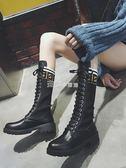 長筒靴長靴女秋季新款韓版百搭直筒高筒靴瘦瘦靴彈力繫帶粗跟騎士靴   走心小賣場