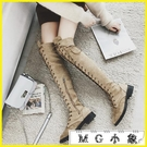 MG 膝上靴-機車馬丁靴英倫風過膝靴長筒高筒靴