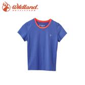 【Wildland 荒野 中童 雙色抗UV圓領排汗上衣《紫羅蘭》】0A61662-29/吸濕排汗/抗UV/童裝/休閒