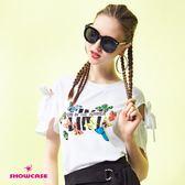 【SHOWCASE】率性蝶舞印花蝴蝶結造型袖T恤(白)