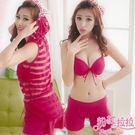 *╮粉紅拉拉【PGW12122】微透性感‧簡約素色‧四件式比基尼(泳裝)‧外搭式褲裙+長版罩衫。紅色