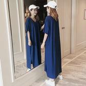 促銷不退換短袖T恤洋裝3306中長款女連身裙短袖V領FZ1F037朵維思