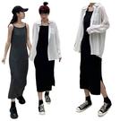 EASON SHOP(GW6556)實拍百搭純色下襬側開衩露肩無袖細肩帶吊帶背心裙連身裙洋裝過膝裙長裙棉閨蜜裝