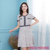 Red House 蕾赫斯-滾邊剪接棉麻洋裝(黑色)