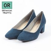 【ORiental TRaffic】純色金線微方頭中跟鞋-皇家藍