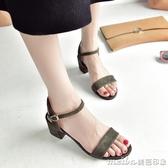冬季新款百搭涼鞋女2018韓版中跟粗跟一字帶露趾中空女士時尚女鞋 美芭