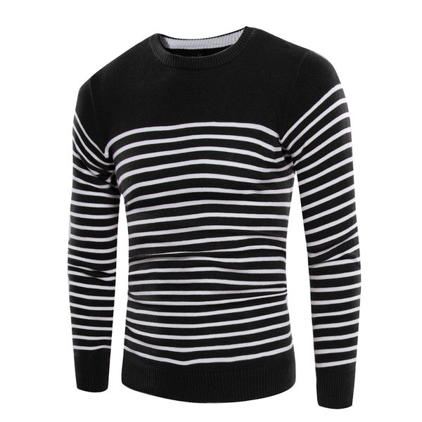 男士毛衣 條紋修身針織衫 針織毛衣 E3130