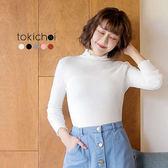 東京著衣-多色甜美女孩捲邊針織高領上衣-S.M(172333)
