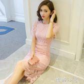 洋装秋裝新款名媛氣質修身包臀裙短袖中長款小香風顯瘦蕾絲洋裝  嬌糖小屋