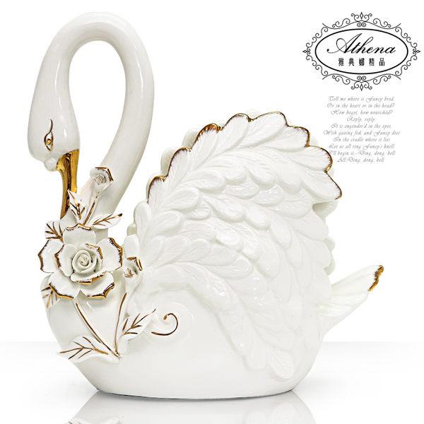 【雅典娜家飾】大白天鵝立體玫瑰陶瓷擺飾-DB200