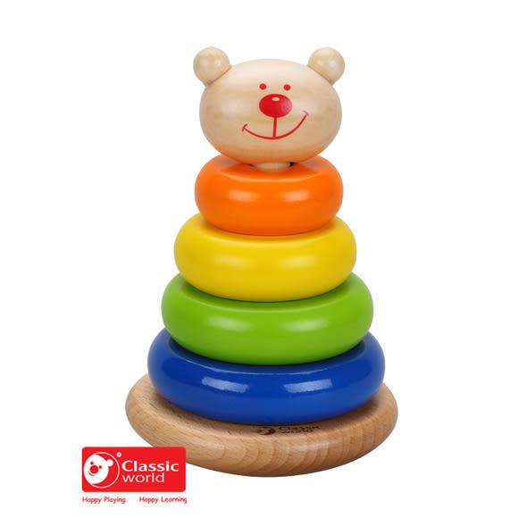 【德國 classic world】客來喜木頭玩具 熊熊套圈圈 CL3520