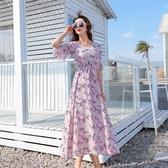 大碼洋裝碎花棉綢連身裙夏小雛菊復古大碼顯瘦印花喇叭袖沙灘裙小清新長裙 雲朵走走