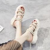涼鞋女涼鞋女2020年夏季新款運動中跟坡跟鬆糕厚底羅馬 易家樂