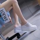 包頭厚底半拖鞋女2021新款網面透氣涼拖鞋女內增高懶人拖鞋女外穿 快速出貨